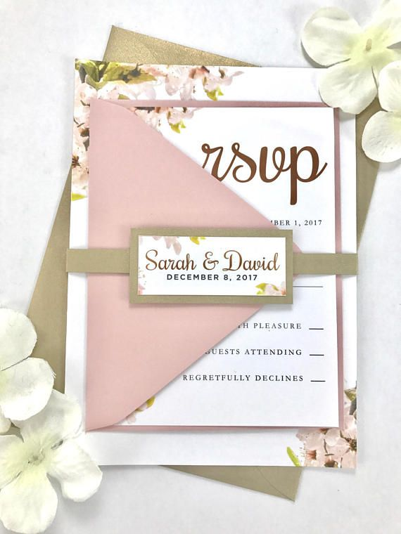 floral blush pink wedding invitations light pink and gold flower