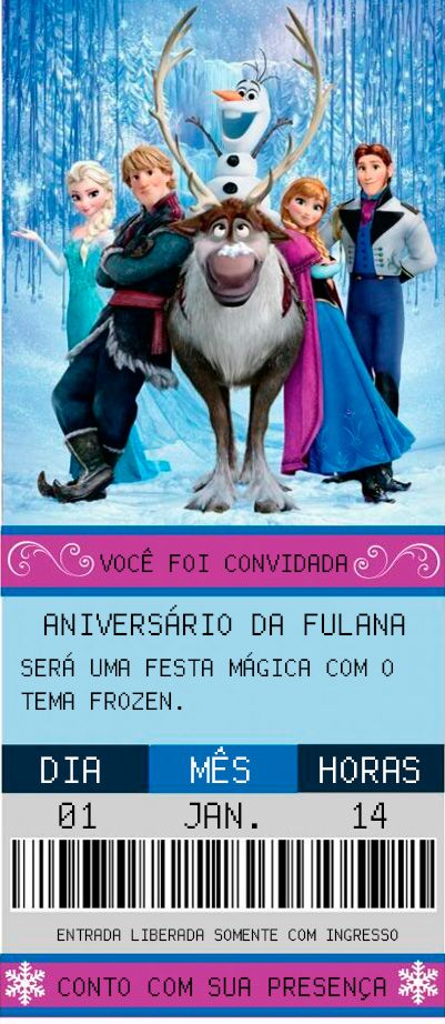 Modelo Convite Frozen Ingresso Cinema