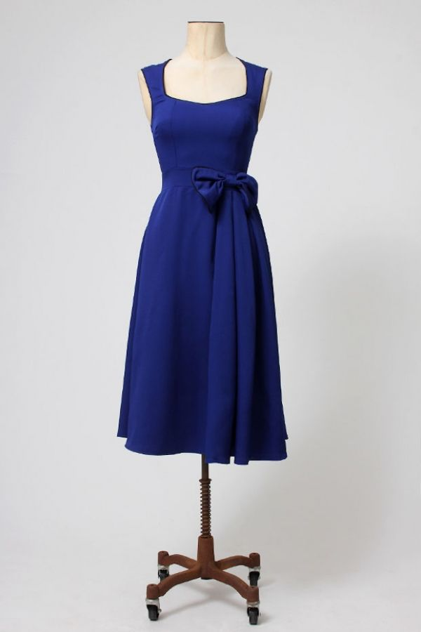 The Classy Blue Fifties Swing Dress by Lindy Bop - Jurken - Kleding