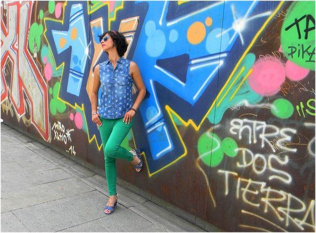 Look Green and Denim!! Camisa Lefties Jeans Zara Sandalias Mustang Gafas de sol Ray Ban
