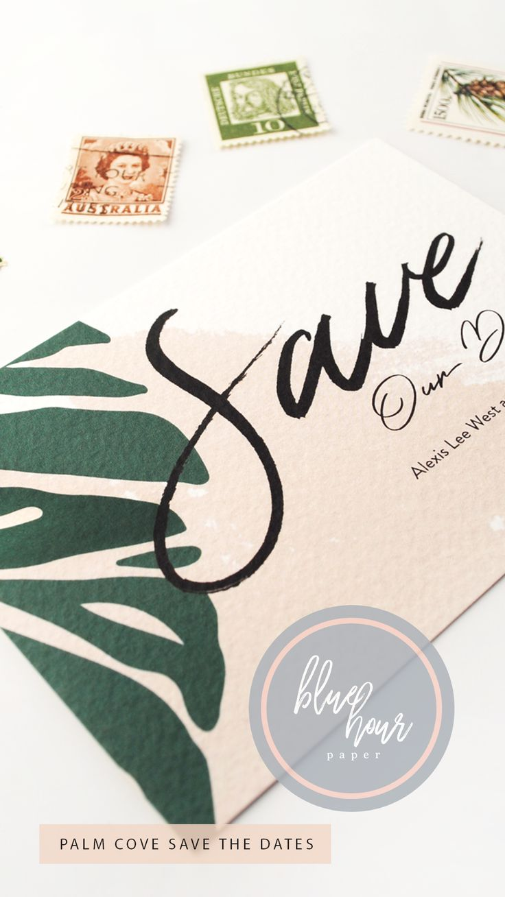 The Palm Cove Save the Date cards are the perfect initial invite to send to your guests to create excitement and to let them know in advance the tone of your wedding! The Palm Cove Save the Dates also give a great first impression of your stylish, modern wedding.