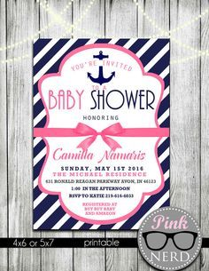 Pink Nautical Baby Shower Invitations Pink by PinkNerdPrintables