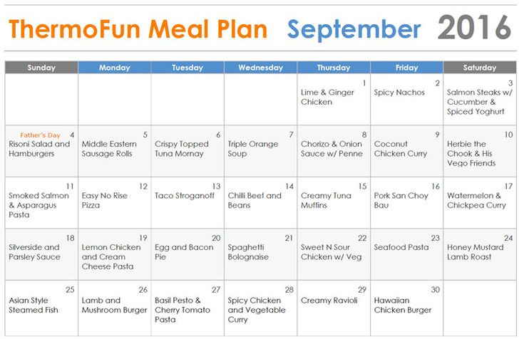 Thermomix Meal Plan - ThermoFun - September | Thermomix Recipes & T