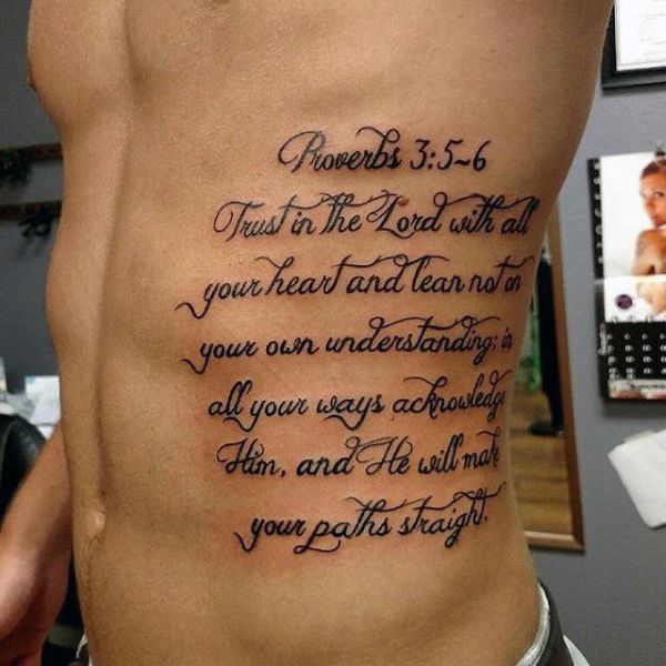 Mens Bible Verse Tattoos On Ribs Proverbs 3 5 6 Trust In The Lord With All Your Heart