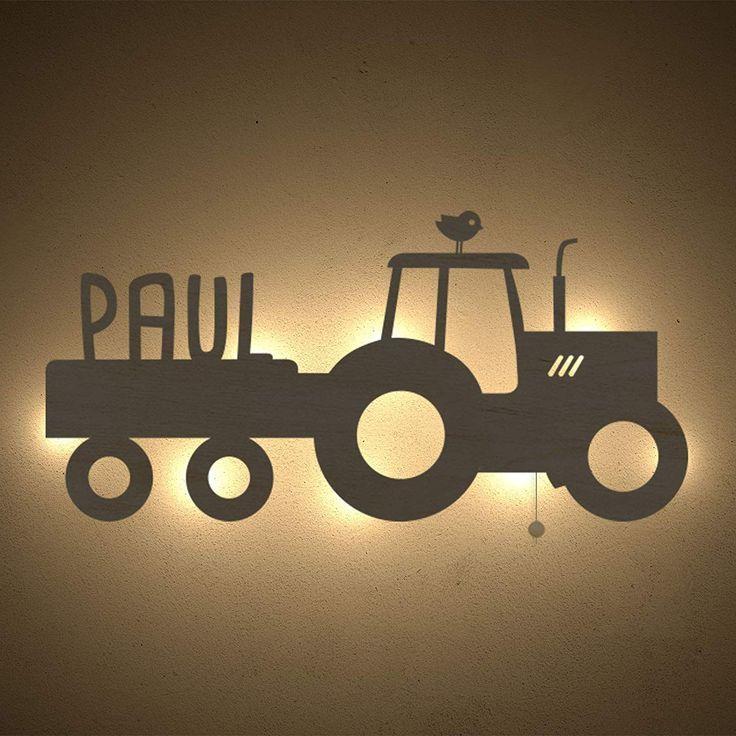 Nachtlicht Traktor Kinderzimmer Lampe Tauf Geschenk Oder Zur Geburt Personalisiert Mit Wunsch Name F R M Dchen O In 2020 Nursery Lamp Tractor Nursery Night Light