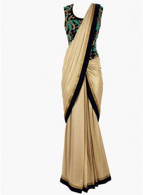 Royal Combination Of Gold Beige With Navy Blue Georgette #Saree With Heavy Embroidered Blouse