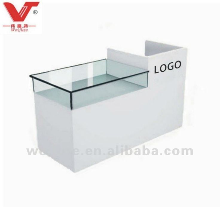 Boutique Counter Desk $95.08~$150.22 a bit boring but with the right sign writing and things inside the glass can look good