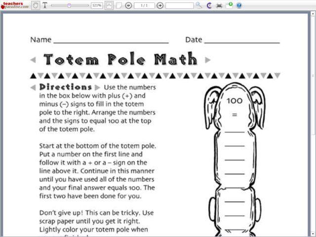 totem pole math worksheet lesson planet school pinterest math math worksheets and totems. Black Bedroom Furniture Sets. Home Design Ideas