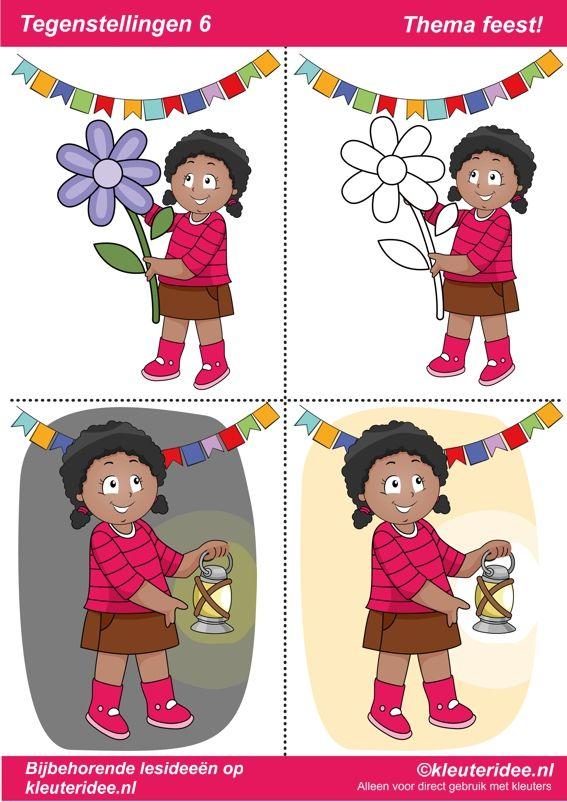 Tegenstellingen deel 6, thema feest voor kleuters, juf Petra van kleuteridee, bij behorende les op de website, preschool opposites, free printable