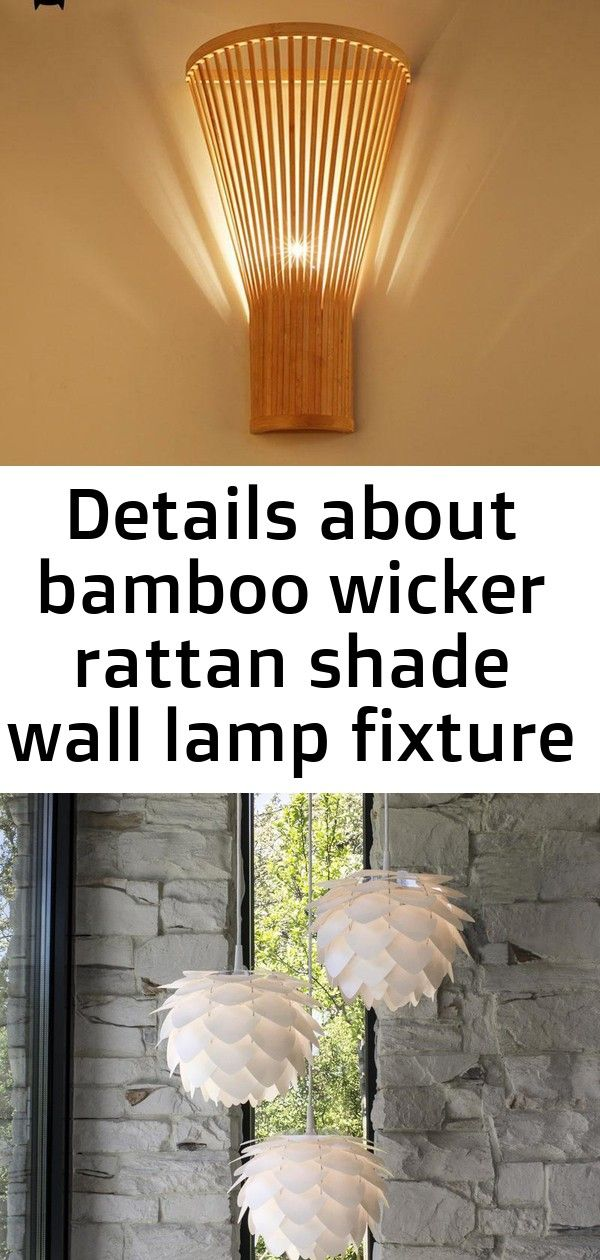 Details about  /Bamboo Wicker Rattan Shade Wall Lamp Fixture Asian Sconce Lamp Bedroom Hallway