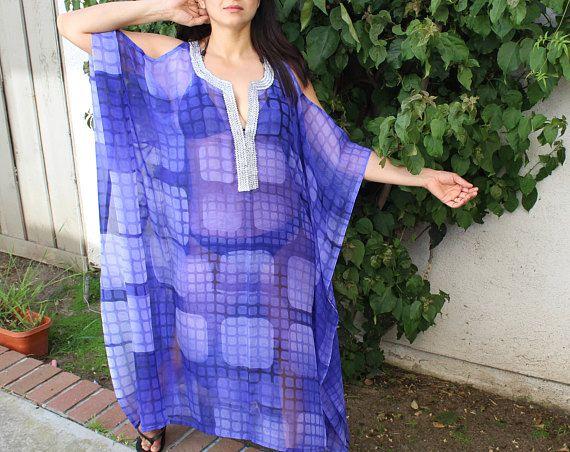Blue Beach kaftan, long beach coverup, Beach Cover ups, swimsuit Coverups, boho print,Handmade,tunic,Honeymoon, Vacation, cruise, kimono