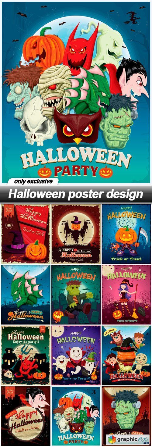 Halloween poster design - 12 EPS