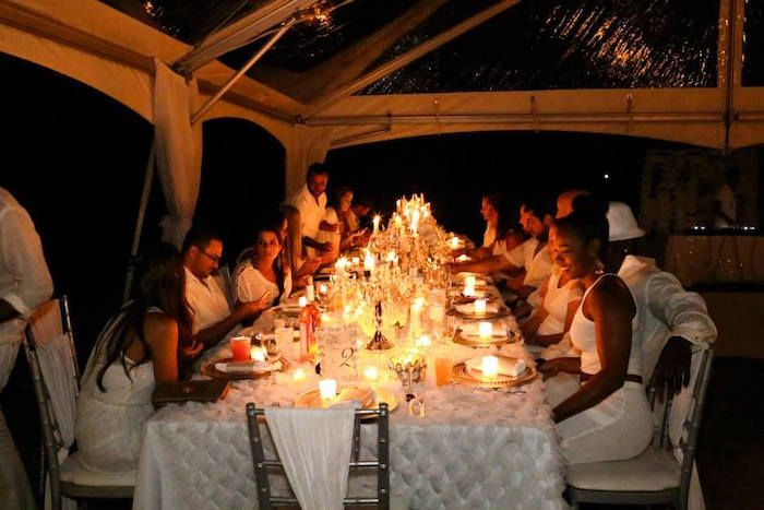 Dinner Party Guest at an Elegant White Outdoor Dinner Party via Kara's Party Ideas | KarasPartyIdeas.com (15)
