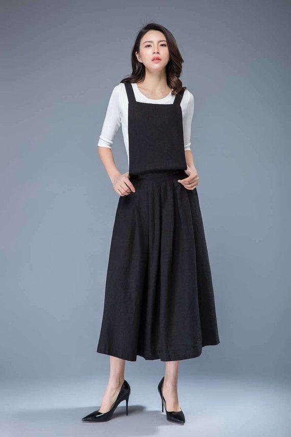 eca2544454f9a Black pinafore dress, linen pinafore dress, linen dress, linen dress women,  overall dress, long line
