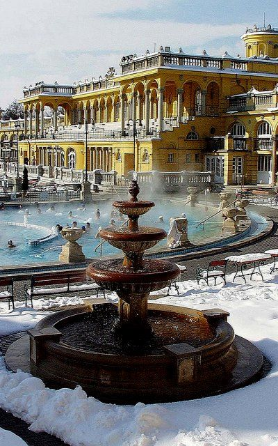 Its snowing outside, but you can still go to Széchenyi Baths, Budapest, natural hot water from inside the earth.