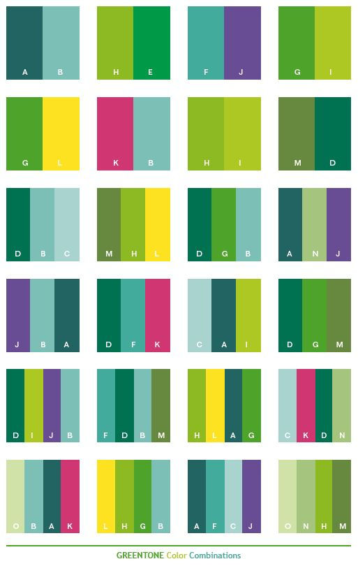 Green Tone Color Schemes Combinations Palettes For Print Cmyk And Web Rgb Html Impressive Pallets Pinterest