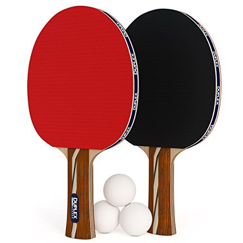 Duplex 6 Star Ping Pong Paddle Set of 2 Table Tennis Rackets with 3 Balls  3 Balls + 2 Ping Pong Paddle set ! This is the perfect professional ping pong kit with 2 rackets and 3 balls for novice through advanced players!  Weight balanced ping pong paddle design improves player recovery time and hit precision. Each table tennis racket is meticulously engineered to have the center of the paddle weight at the point of ball contact.  High performance, durable rubber is made in a factory th...