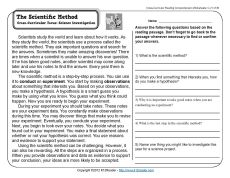 The Scientific Method | 3rd Grade Reading Comprehension Worksheet