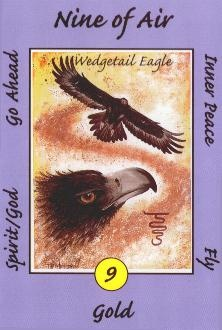 5-4-12: Nine of Air (Australian Animal Tarot)... The Eagle represents a flight to freedom! Instead of using your mind to allow pain to haunt you, the Eagle would ask that you use your mind to free yourself instead! See more at Google Plus: https://plus.google.com/u/0/111869874033603936931/posts