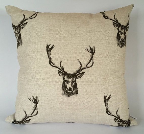 Stag Cushion Cover stag's head Christmas pillow by JaredDesigns