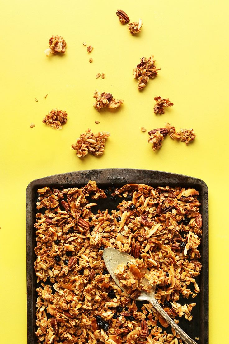 Crunchy coconut granola with slivered almonds, dried blueberries, and rolled oats! Naturally sweetened, butter-free, and the perfect breakfast or snack.