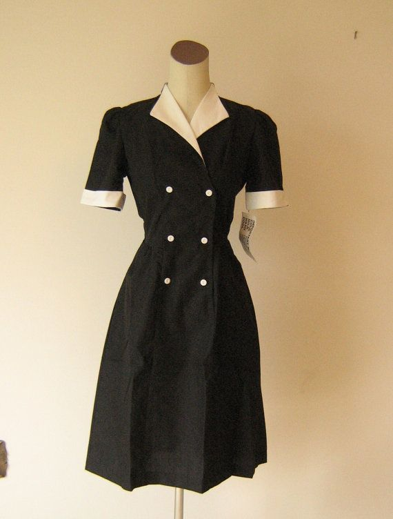 Black Diner Waitress Uniform Dress