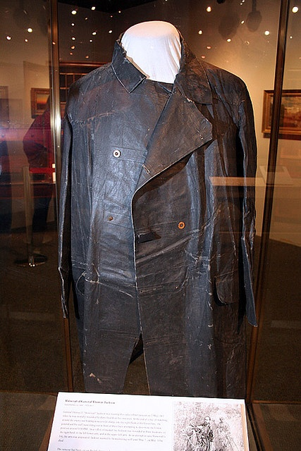"The actual raincoat that General Thomas ""Stonewall"" Jackson was wearing when he was mistakenly shot by his own men in Chancellorsville, VA."