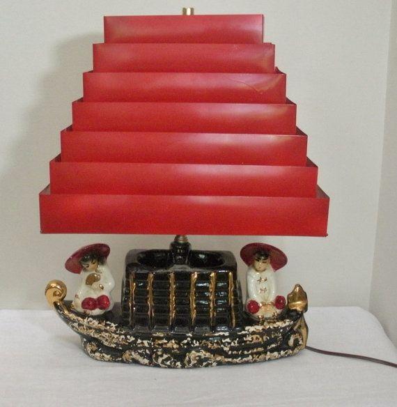 Vintage Red Venetian Blind Shade Asian Lamp $115