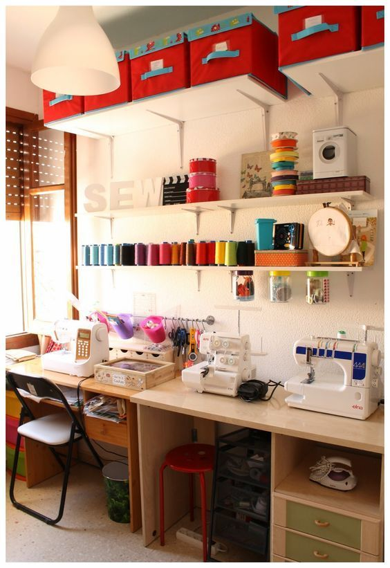 I really love the idea of having all the machines out and ready to use. I'd need a wheely trolley for essentials, like scissors and rulers, needles and pens. And all my cotton spools within easy reach.