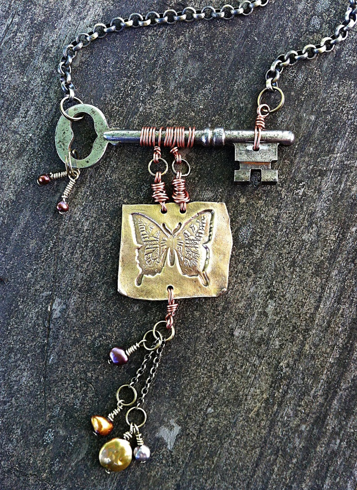 Butterfly and Skeleton Key Necklace