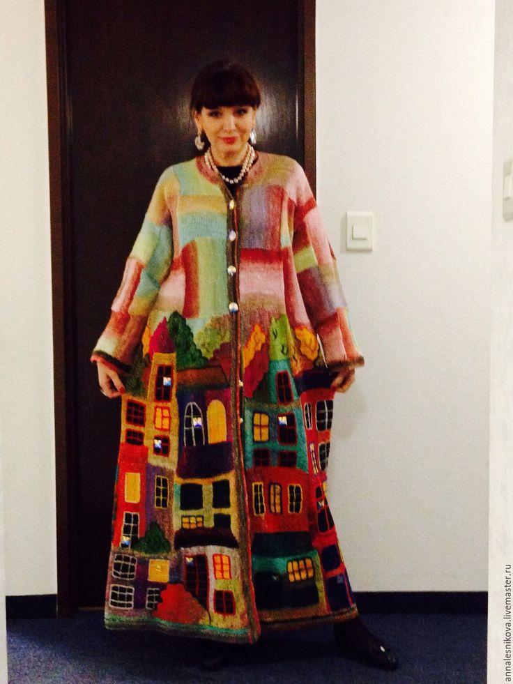 """Купить Платье- пальто большой размер """"МАНАРОЛА"""" - разноцветный, рисунок, Анна Лесникова, пикассо, ганпи, норо"""
