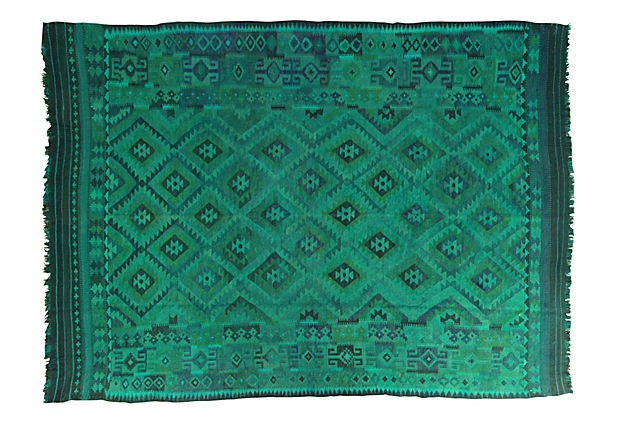 "Gorgeous rare color for a rug! 8'7"" x 11'7"" Basol Flat-Weave Rug, Jade on OneKingsLane.com"