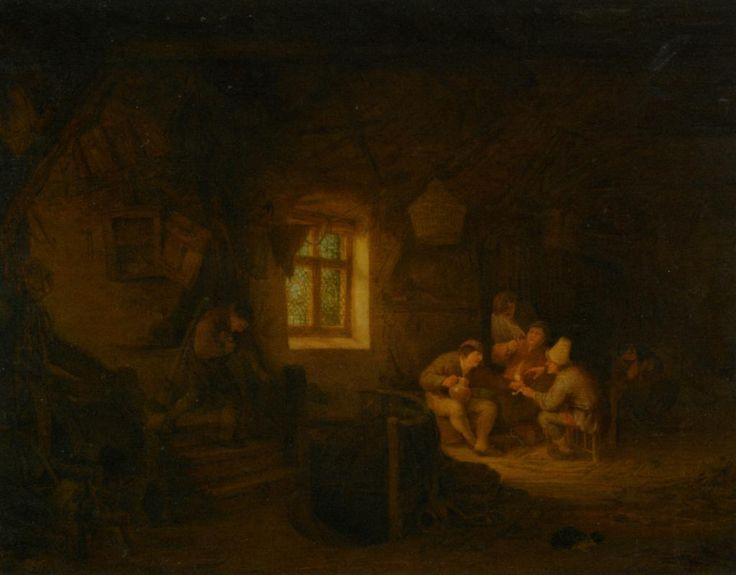 A Tavern Interior with Peasants Drinking Beneath a Window, 1653