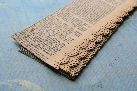 border punches Antique Dictionary Paper Lace Strips - would look cute wrapped around some glass jar