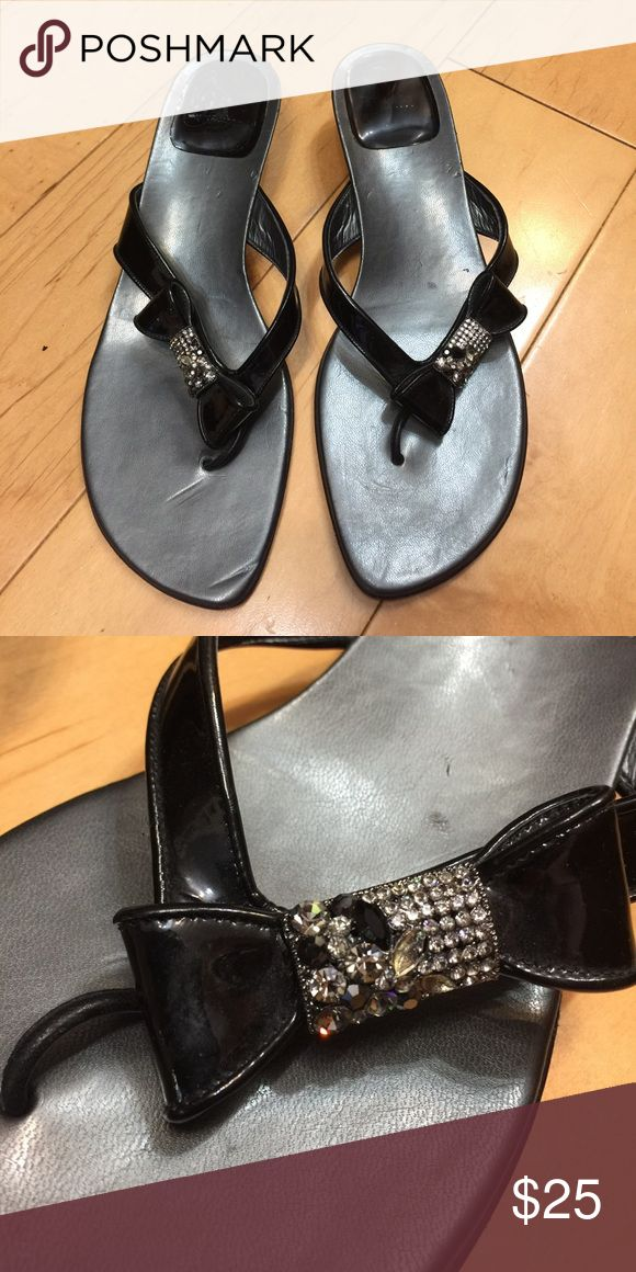 Stuart Weitzman sandals thongs black ribbon 9 Stuart Weitzman sandal thongs black patent finish leather , beautiful ribbon with crystals.  Heel 1.75 inch. Gently used condition. Stuart Weitzman Shoes Sandals
