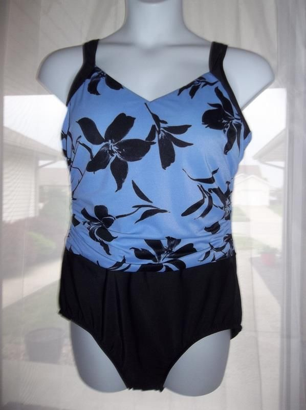 Womens Purple/Black Floral Ruched 1 Peice Tummy Control Bathing Suit Size 20W #Unbranded #OnePiece