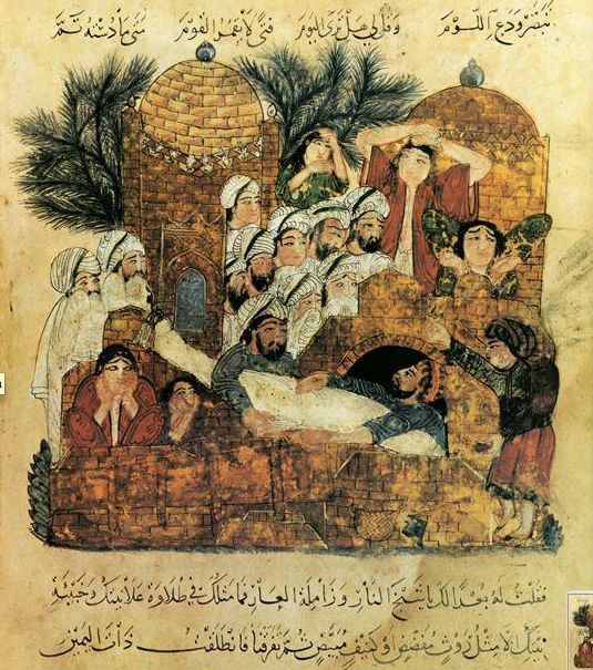 Funerary Ceremony from the Maqamat of al-Hariri 1237, by Yahya al-Wasiti Depth, overlapping of figures Incredible grief shown by women pulling their hair out most famous manuscript