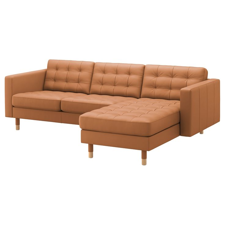 IKEA – LANDSKRONA Sofa with chaise, Grann/Bomstad golden brown/wood