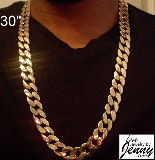 18k Gold Overlay 13 Mm Curb Cuban Link Chain Heavy