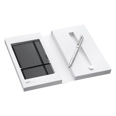 Lamy Logo Brushed Medium Ballpoint Pen with Notebook and Gift Box - 606 - New