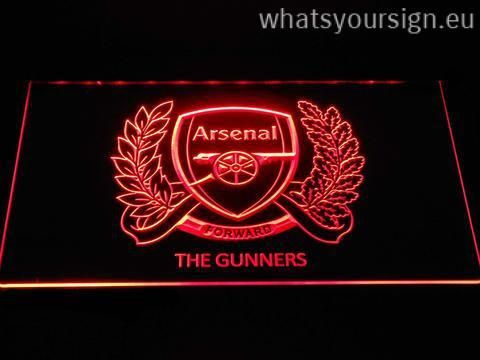 Arsenal F.C. 125th Anniversary Logo - LED neon light sign display made of the highest quality clear acrylic and intense colorful LED illumination. The neon sign looks exactly the same from every angle thanks to the carving with the newest 3D laser engraving technology. This LED neon sign is a great gift idea! The neon is provided with a metal chain for displaying. Available in 3 sizes in following colours: Red, Yellow, White, Purple, Orange, Green and Blue!