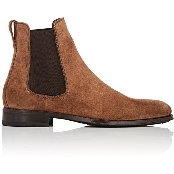 Salvatore Ferragamo Men's Darien Suede Chelsea Boots (€785) ❤ liked on Polyvore featuring men's fashion, men's shoes, men's boots, salvatore ferragamo mens shoes, mens slip on boots, men's pull on work boots, mens chelsea boots and mens slipon shoes