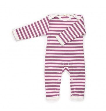 classic stripe raspberry baby grow