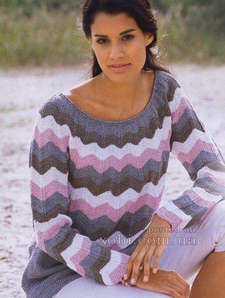 женский удлиненный пуловер из зигзагов