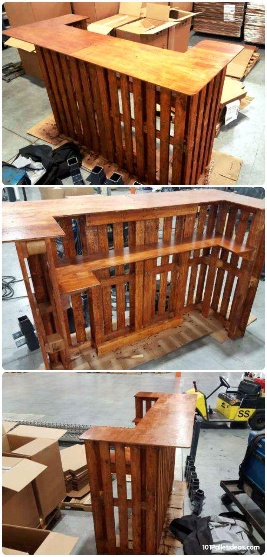 sleek pallet bar with edged 720 1500 basement decor pinterest diy und. Black Bedroom Furniture Sets. Home Design Ideas