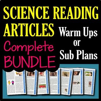 All of your science article needs will be met in this Growing Bundle of Science Articles!  Science articles make science great sub plans and activities, but finding reliable and interesting articles on the internet or in periodicals is very time consuming.
