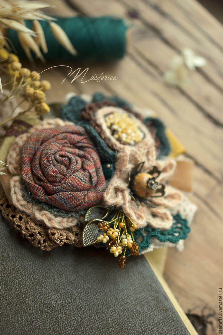 Textile boho brooch