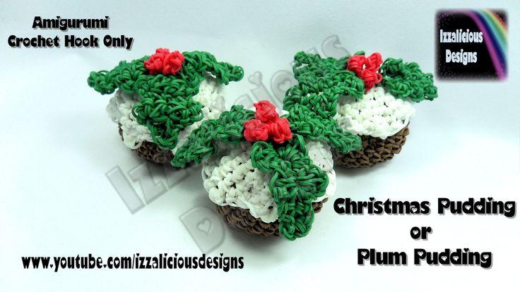 Rainbow Loom Christmas.Xmas Pudding.Plum Pudding Amigurumi Crochet Charm - Loom-less.Hook Only