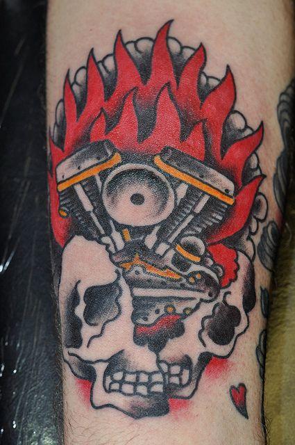 American traditional motor tattoos photo tattoos for Tattoo shops denton tx