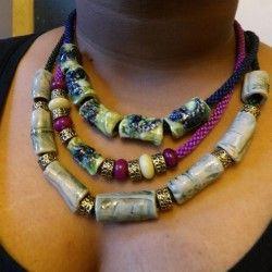 ceramic beads with gemstones on kumihimo